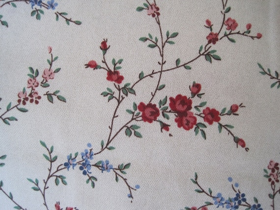 Home Decor Fabric Delicate Floral Pattern Red Blue Green 5th