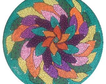 "Circle of leaves Acrylic 12"" round on black canvas board. Yellow, black, blue, purple, orange, green."