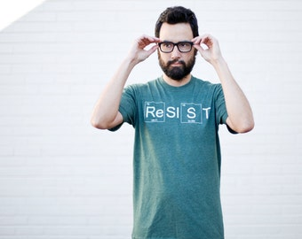 RESIST graphic tee - Mens Climate Change Awareness T-Shirt in Forest Green - Science March shirt - periodic table - science shirt for men