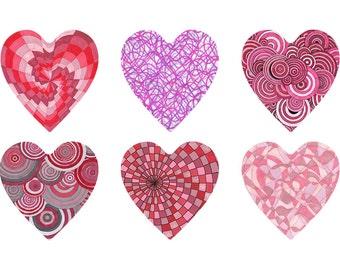 Heart Clipart Pack, 6 JPGs png,Valentine's Day, Instant Download, Heart Digi Stamp, Scrapbooking Hearts, Inklets Illustration