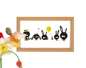 Printable Wall Art Nursery Art Cute Animals Digital Download Baby Room Bunny 6x12