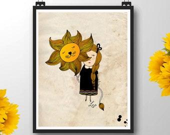Leo Star Sign, Leo Wife, Leo Zodiac Sign, Children's Wall Art Print, Nursery Room, Custom Name