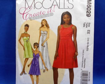 McCall's M6029, sewing pattern, Misses' sizes 14 to 20, lined dresses and necktie