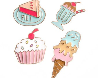 Dessert Enamel Pin (4/pkg) Happy Jackets Decorative Enamel Pins Dessert Theme (30020590)