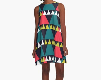 Triangles Dress, Modern Dress, Woman Dress, Dress for Woman, Geometric Dress, Girl Dress, Colorful Dress, summer dress, Gifts for her