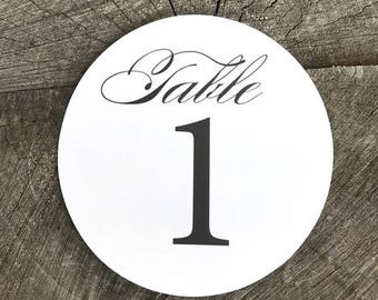 Circle Formal Table Numbers - Numbered Script Table Round Number Cards  - Black and White Table Cards - Formal Round Table Assignment Signs