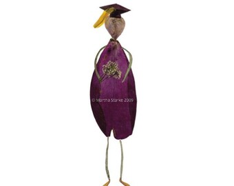 Graduation greeting card - Petal Person - Pressed flower art - Print of original artwork made of pressed flowers & herbs - School graduation