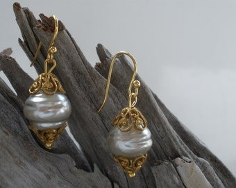 Miriam Haskell Pearl Earrings with 24K Russian Gold Filigree Bell Caps