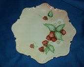 "Vintage Strawberry Design Serving Plate--10 1/2"" Diameter"