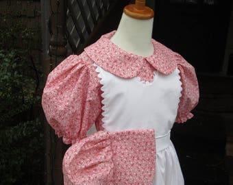 Girls Pioneer Dress short sleeves / Little House Prairie Costume...Special Order (Please check lead time before ordering)