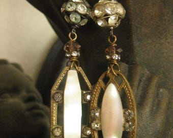 sweet spring ~ antique mother of pearl rhinestone spring dangles