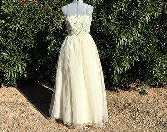 Vintage 80s Saks Fifth Ave Ivory Floral Lace Rockabilly Party Dress VLV Prom or Formal XS