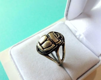 Sterling Silver 3-D Scarab Ring