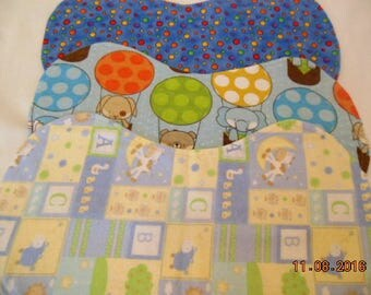 Set of Three Gender Neutral Flannel Baby Burp Cloths/Changing Pads