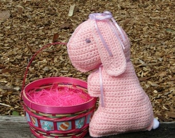 Bunny Rabbit Pillow Pal, Floppy Eared Plush Pink Bunny, Toy Rabbit Doll, Birthday Gift, Baby Gift, Baby Shower gift, Bedtime Bunny Pal