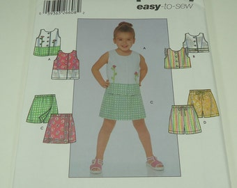 Simplicity Child's Top And Shorts Pattern 5619 Size 3, 4, 5, 6 Easy-To-Sew