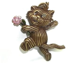 JJ Striped Cat with Flower pin Jonette brooch vintage  jewelry