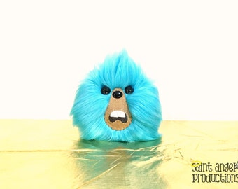 Blue Monster Furry Blob Plush, Weird Fluffy Bright Handmade Fuzzy Plushie, READY TO SHIP