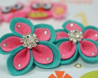 New! 2pcs handmade felt flowers--tro. turquoise (FT1023)
