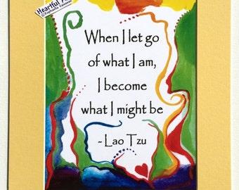 When I Let Go LAO TZU 11x14 Print Yoga Meditation Inspirational Eating Disorder Motivation Recovery Gift Heartful Art by Raphaella Vaisseau