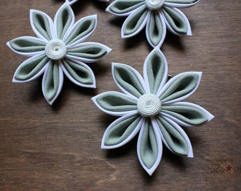 White and Soft Mint | Kanzashi Flower Hair Clip