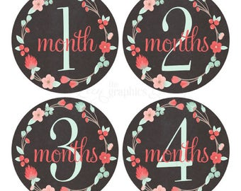 Baby Month Stickers Baby Girl Growth Decals Monthly Baby Stickers Baby Shirt Stickers Baby Shower Gift Chalkboard Mint Coral Wreath Decals