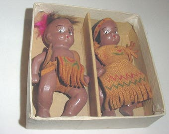 Bisque Little Baby Indian Dolls-Leather Dressed-Orig.Bx-Japan Made - So Sweet