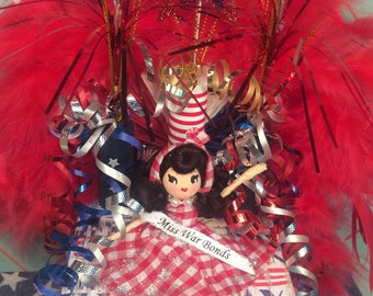 Miss War bonds July 4th decor vintage atomic retro inspired memorial day 4th of July centerpiece decorated box art doll red white blue USA