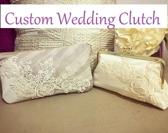 REPURPOSE mom's old dress and turn it into a keepsake purse - CUSTOM bridal wedding clutch - use grandma's heirloom gown or dad's old shirt