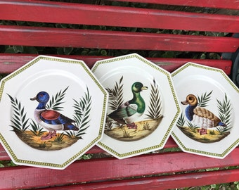 Trio of Vintage Made in Italy Hand Painted Decorative Plates with Ducks