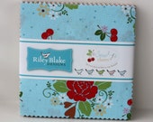 "SALE 5"" inch squares SEW CHERRY 2 charm pack fabric by Riley Blake by Lori Holt"
