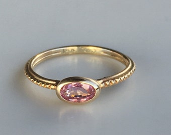 14k gold pink sapphire ring
