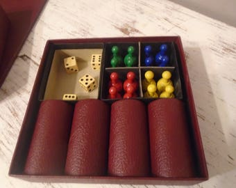 2 vintage games, Parcheesi board and pieces, Captiol wooden dominoes 55 piece set, vintage toys, childrens games,
