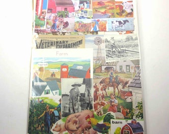 Farm Ephemera Pack of 65 Pieces of Vintage Farm Images for Altered Art