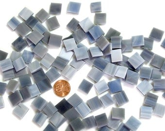 "Smoky Gray Mosaic Tile Squares Hand Cut From Spectrum Stained Glass Choose From 5 Popular Sizes From Tiny 1/4"" to Big 1"" Square Mosaic Tiles"