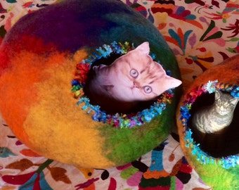 Rainbow Cat Cave Felted Pet Bed Custom Cocoon & Rescue Donation for Dogs and Cats