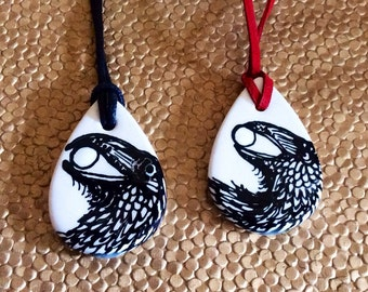 Raven Steals the Moon Talisman Pendant Handpainted Ceramic Ready to Ship
