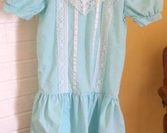 Vintage YOU BABES girl dress size 10 drop waist