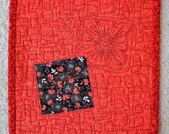 "Reversable Black/Orange Mug Rug, Snack Mat, quilted 8.5"" square"