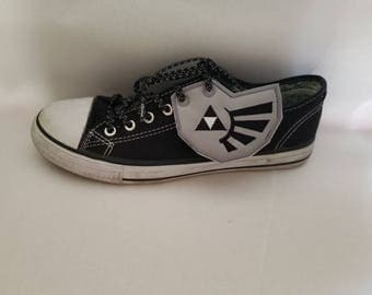 Triforce Zelda shoe wings grey solid fabric with black detail and grey outline stitching