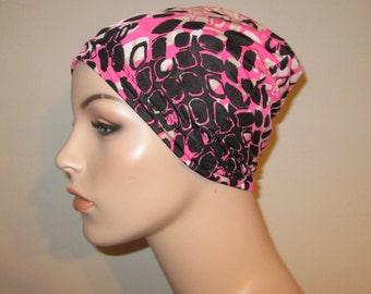 Chemo Beanie Lycra  Pink Black White Print  Play Sleep Cap, Cancer Hat, Alopecia