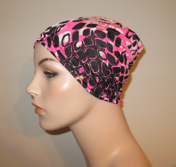 Chemo Beanie Lycra  Pink Black White Print  Play Sleep Cap, Cancer Hat, Alopecia