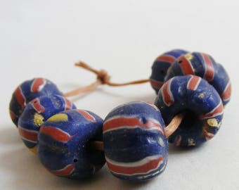 antique trade beads >7 Blue Striped VENETIAN DRAWN BEADS< African beads, medicine man beads, tribal, ethnic, destash, primitive shaman beads