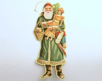 Vintage Die Cut Santa Ornament Christmas Ornament St Nick