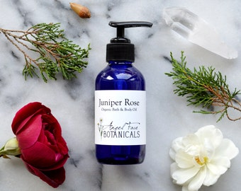 Juniper Rose Organic Bath & Body Oil with pure Essential Oils