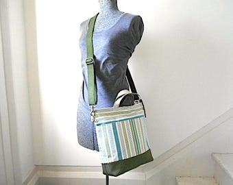 Stripe denim, military canvas tote, crossbody bag - eco vintage fabrics