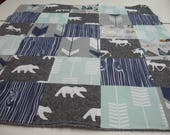 Moose and Bears Navy Mint Gray Minky Baby Blanket 32 x 38 READY TO SHIP On Sale