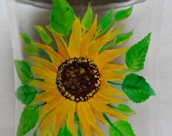 Sunflower Storage Jar Hand Painted Sunflower Glass Jar
