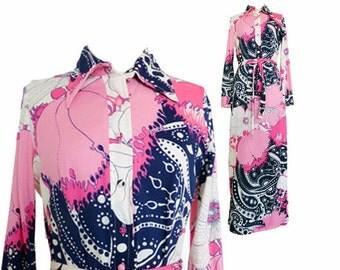 Vintage Maxi Dress | 1970s Dress | Psychedelic Orsini Floral Flower Print Retro 70s Milano New York Roma