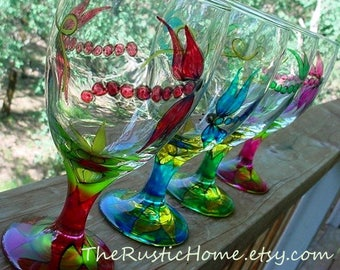Dragonfly glassware iced tea wine goblet choose your colors made to order dragonflies flower petals large dragonfly wine glasses rustic home